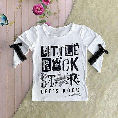 Blusa infantil Petit Cherie manga longa little rock star off white