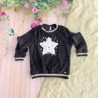 Blusa infantil Petit Cherie inverno menina de pelinho com estrela preta Tam 1