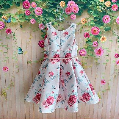 Vestido de festa infantil Petit Cherie luxo floral com cinto em pérolas rosa