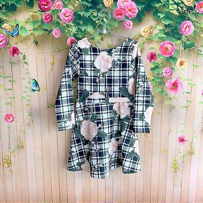 Vestido infantil Petit Cherie casual xadrez floral com telinha preto e branco