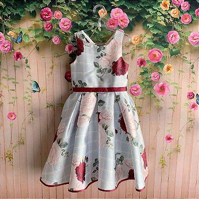 Vestido de festa infantil Petit Cherie com max flores e fundo xadrez azul claro