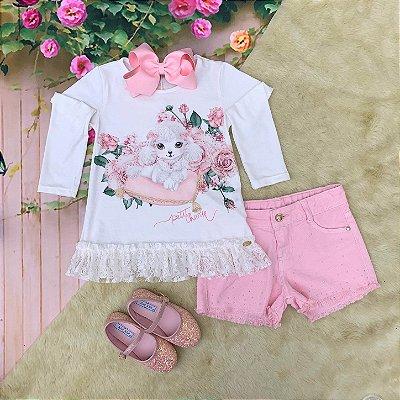 Conjunto infantil Petit Cherie inverno blusa cachorrinho com renda e short rosa