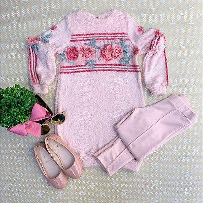 Conjunto infantil Petit Cherie inverno blusa minivesti de pelinho calça montaria rosa Tam 6