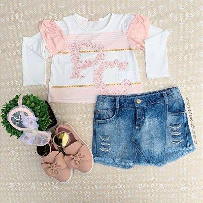 Conjunto infantil Petit Cherie manga longa e short saia jeans tam 8