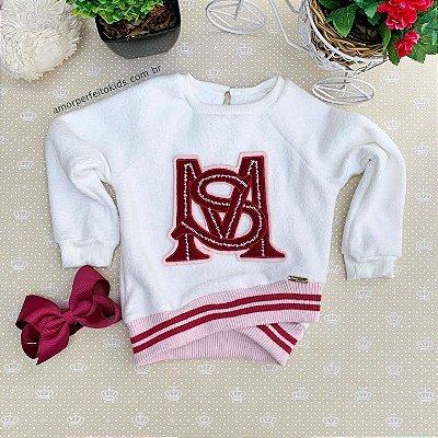 Blusa infantil Mon Sucré moletom pelinho sport com bordado off white e vermelho