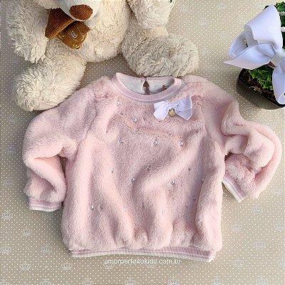 Blusa infantil Petit Cherie inverno de pelinho com pérolas e laço rosa claro Tam 1