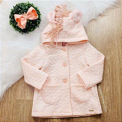 Casaco infantil Mon Sucré inverno matelasse com capuz unicórnio rosa
