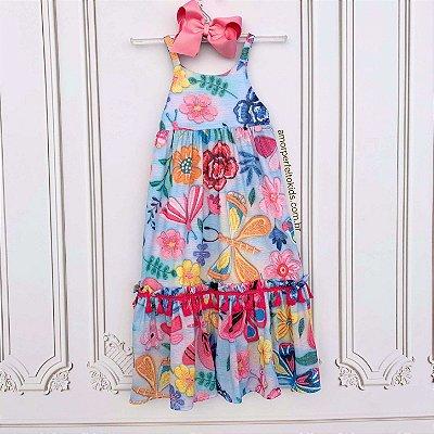 Vestido infantil longo Mon Sucré casual floral de alcinha tam 12