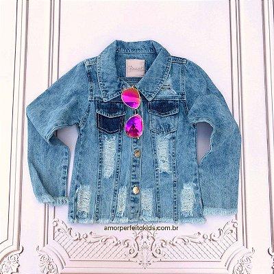 Jaqueta jeans infantil destroyed Mon Sucré azul claro Tam 2