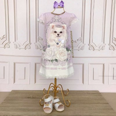 Vestido infantil Petit Cherie casual cachorrinho Lulu lilás Tam 02