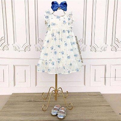 Vestido de festa bebê Petit Cherie floral delicado off white e azul Tam P