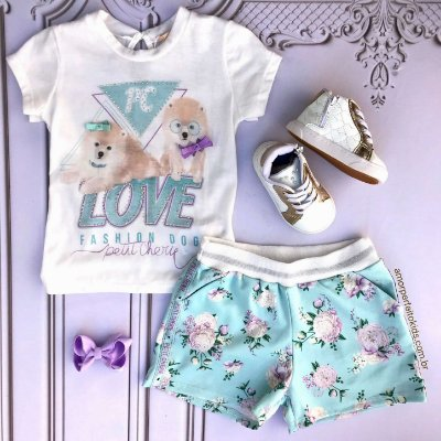 Conjunto infantil Petit Cherie blusa fashion love dog sport com shorts floral Tam 1