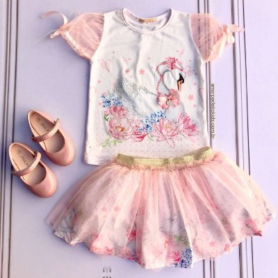 Conjunto infantil Petit Cherie blusa cisne com saia com tule bailarina rosa Tam 1