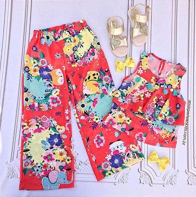 Conjunto infantil Mon Sucré blusa e calça pantacourt tropical floral laranja Tam 04