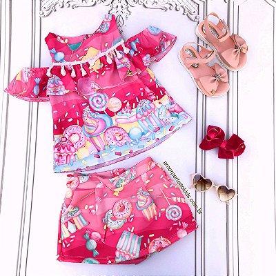 Conjunto infantil Mon Sucré blusa ciganinha doces donuts com short saia pink