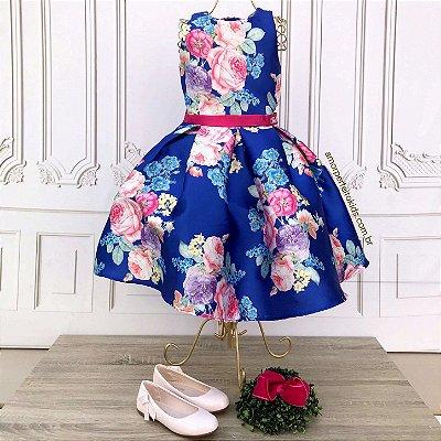 Vestido infantil de festa Petit Cherie azul floral cinto pink
