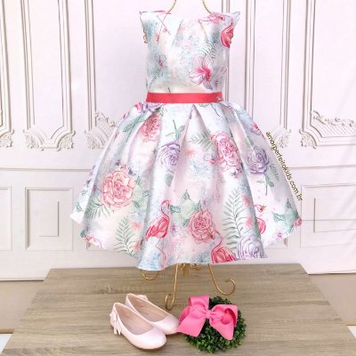 Vestido infantil de festa Petit Cherie flamingo floral tropical rosa