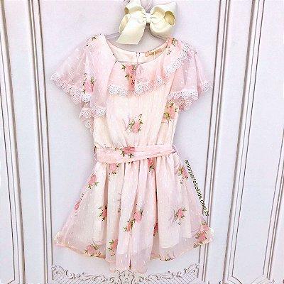 Macacão infantil Petit Cherie soltinho chiffon rosa floral com renda guipir Tam 12