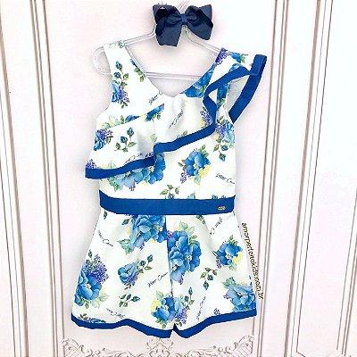 Macacão infantil Petit Cherie floral hortênsias azul com babado Tam 16