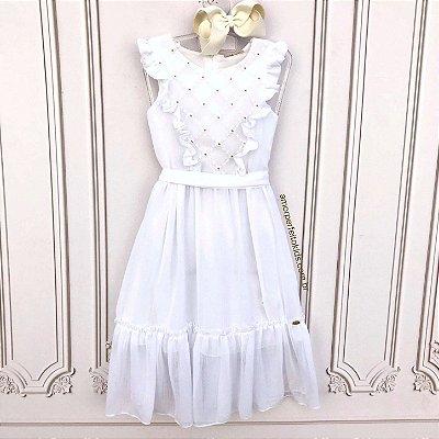 Vestido Branco Infantil Petit Cherie casual bordado Tam 6