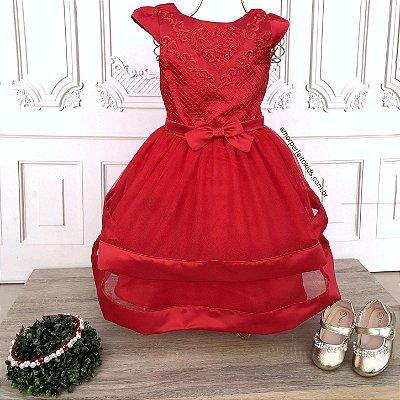 Vestido de festa infantil Petit Cherie em tule vermelho com brilho Tam 01