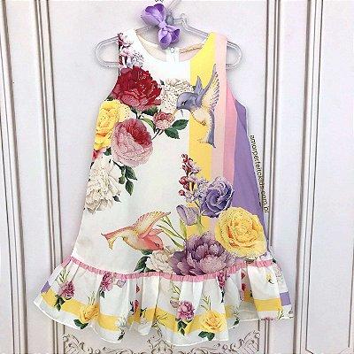 Vestido infantil Petit Cherie casual beija-flor com brilho amarelo e lilás