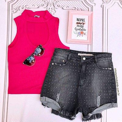 Blusa cropped choker com decote pink