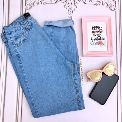 Calça jeans Lady Rock teen mom hot pant azul claro Tam 36