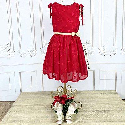 Vestido infantil Petit Cherie estrelas vermelho