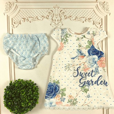 Vestido bebê Petit Cherie jardim encantado azul e branco Tam M