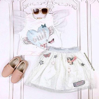 Conjunto infantil Petit Cherie blusa com coração manga tule com saia tela magic unicórnio branco