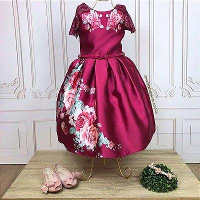 Vestido de festa infantil Petit Cherie floral com manga de renda bordo Tam 8