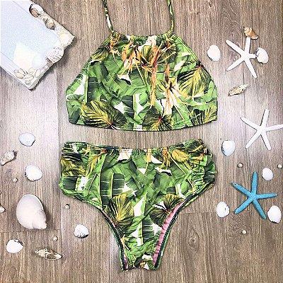 Biquíni teen Riviera hot pant top trapézio folhagem verde