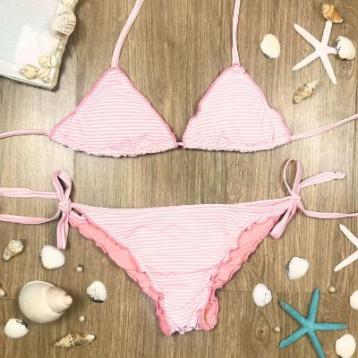 Biquíni teen Juréia ripple frufru listrado rosa e branco
