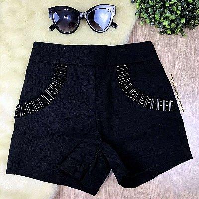Shorts teen baladinha com pedraria preto