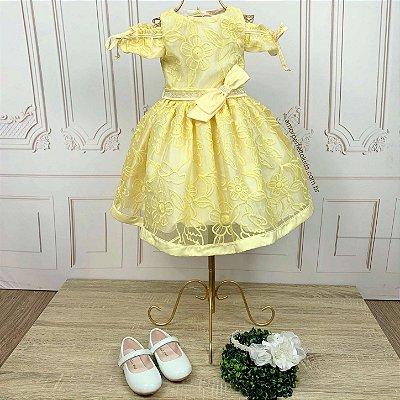 Vestido infantil de festa Bella com manguinha princesa amarelo tam 3