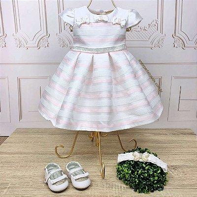Vestido de batizado bebê Petit Cherie branco listrado rosa claro manga princesa
