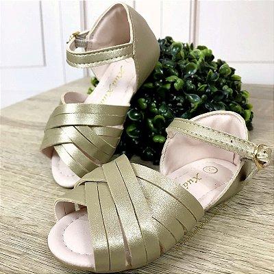 Sandália infantil tirinhas luxo dourada fosca Tam 26