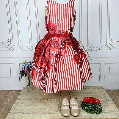 Vestido infantil de festa Petit Cherie listrado floral vermelho luxo