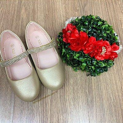 Sapato infantil de festa dourado metalizado luxo com strass tam 34