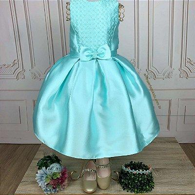 Vestido infantil de festa Petit Cherie verde tiffany sereia