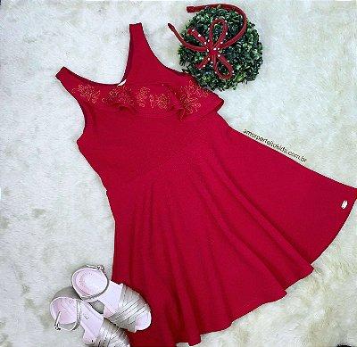 Vestido infantil Petit Cherie vermelho casual com babadinho