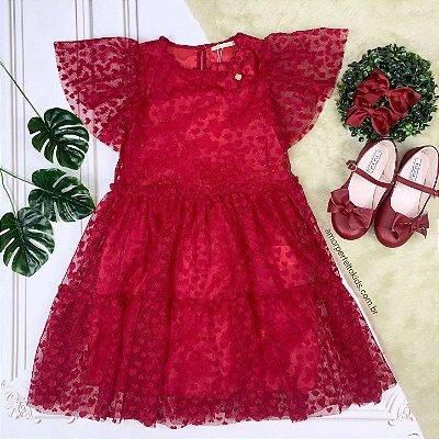 Vestido infantil de festa em tule de coração vermelho Petit Cherie