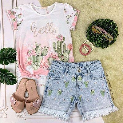 Conjunto infantil Petit Cherie blusa rosa cactos com shorts jeans bordado tam 6