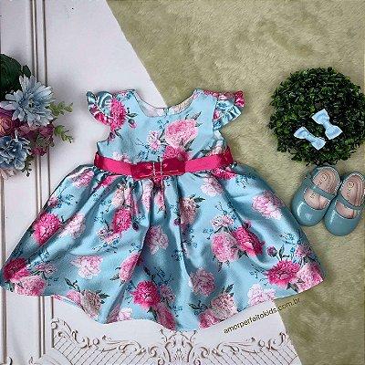 Vestido de bebê de festa Petit Cherie floral azul e pink luxo