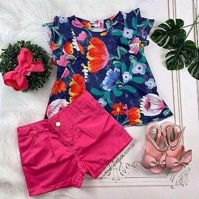 Conjunto infantil Mon Sucré blusa floral azul com shorts pink