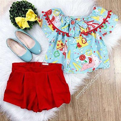 Conjunto infantil Mon Sucré bata short-saia azul e vermelho Tam 12