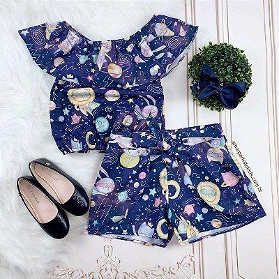 Conjunto infantil shorts Mon Sucré unicórnio na galáxia azul