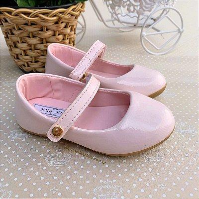 Sapato infantil boneca verniz nude rosa claro