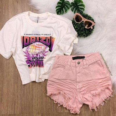 Shorts jeans teen hot pant rosa amassado